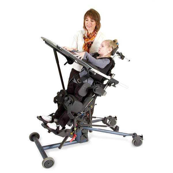 caregiver and child using the EasyStand Bantam standing frame