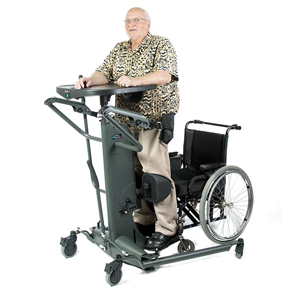 EasyStand StrapStand Strap Style Standing Frame with elderly male user standing in upright position