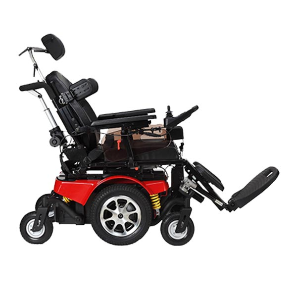 Vector Rehab Tilt & Recline Power Wheelchair front view without tilt