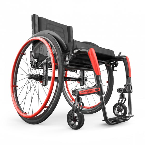 Motion Composites APEX Lightweight Rigid Wheelchair in red shown from the side