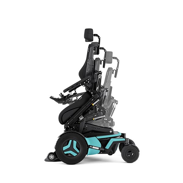 Permobil F5 Corpus Front-Wheel Drive Powerchair tilted to give the user greater elevation