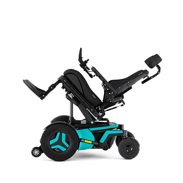 Permobil F5 Corpus Front-Wheel Drive Powerchair tilted backward