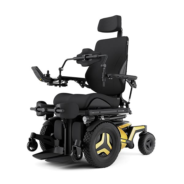 Permobil F5 Corpus VS Standing Power Wheelchair in seated position from a frontal view