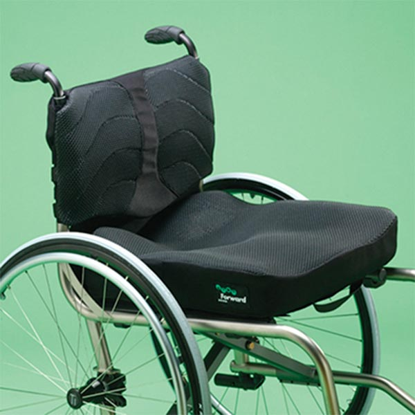 Ride Designs Forward Wheelchair Cushion installed on a rigid wheelchair