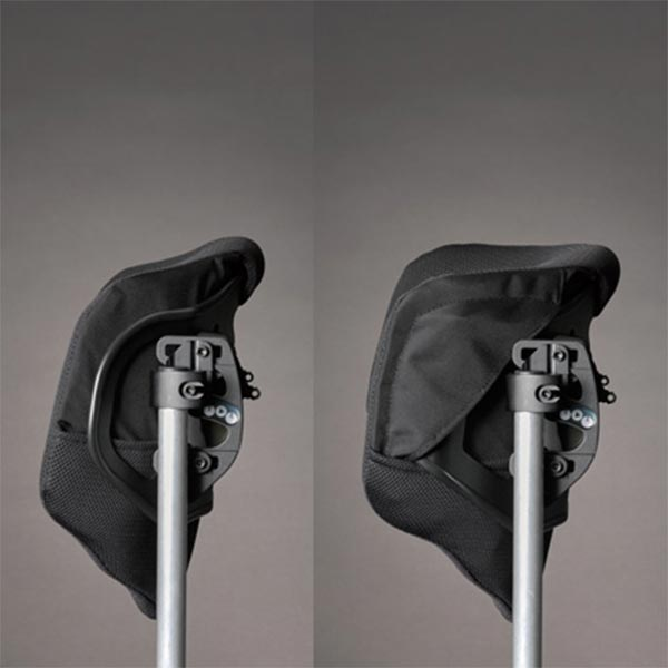 Java Back Wheelchair Back Support by Ride Designs showing a deep flex of the depth of the supportive cushion back